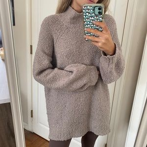 Aerie Oversized Turtleneck Sweater Tan Puff Sleeve